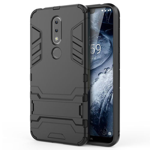 Slim Armour Tough Shockproof Case & Stand for Nokia 6.1 Plus - Black